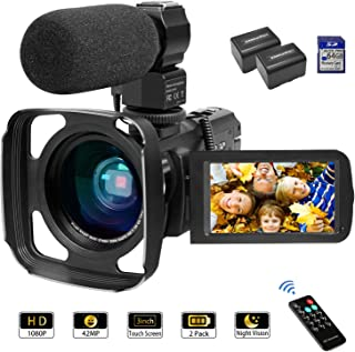 Camcorder Video Camera FHD 1080P 42MP 16X Zoom IPS Touch Screen YouTube Vlogging Camcorder with Stereo Microphone, Wide Lens, Infrared Night Vision, 64GB SD Card, Remote Controller, 2 Batteries