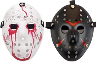Jason Mask Black and Horro Bloody Jason Mask for Halloween Costume Cosplay Party Masquerade Mask Suit for Kids, Adults