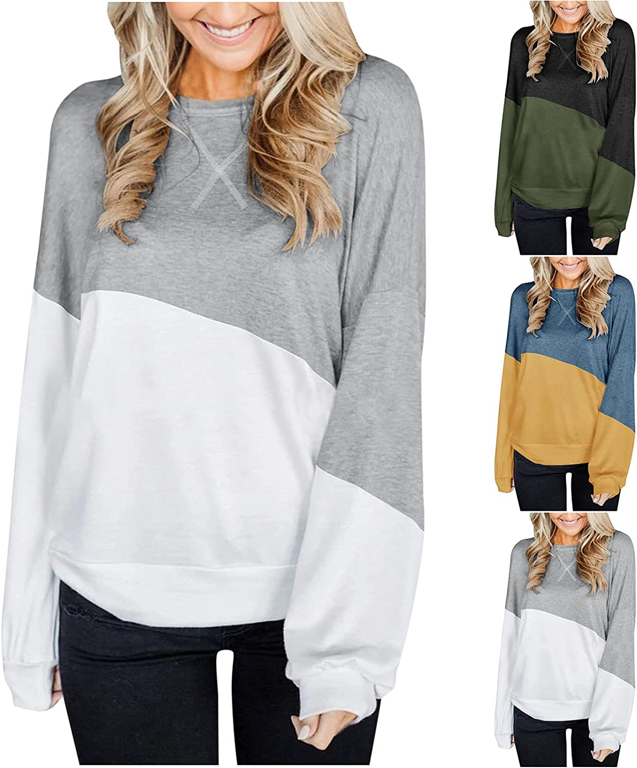 Womens Autumn Color Block Splicing Tunic Tops Lantern Long Sleeve Crew Neck T Shirts Casual Loose Comfy Blouse Tops