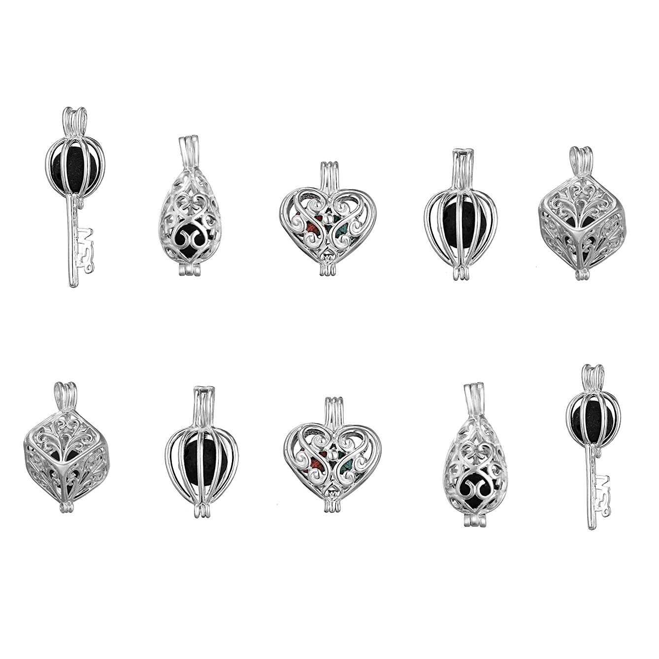 lisafinding 10pcs Mixed Style Silver Plated Bead Cage Locket Pendant - Add Your Own Stones, Rock to Cage,Add Perfume and Essential Oils to Create a Scent Diffusing Pendant Charms Fit Necklace