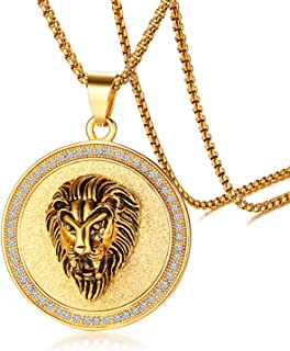Gold Plated Circle of Rhinestone Crystal Lion Head Medallion Round Pendant Necklace Chain, Mens Stainless Steel Gothic 24