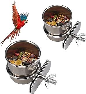 Bol d'alimentation pour Oiseaux, 2 Pièces Mangeoire Perroquet Mangeoire pour Les Oiseaux en Acier Inoxydable, pour Mangeoi...