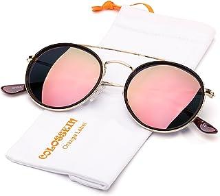 COLOSSEIN Retro Fashion Women Sunglasses Double Bridge Metal Frame Polarized Circle Lens, 100% UV Protection