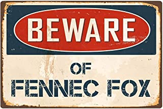 12×16inch Retro Pattern Signs Tin,Beware of Fennec Fox,Perfect Wall Decoration