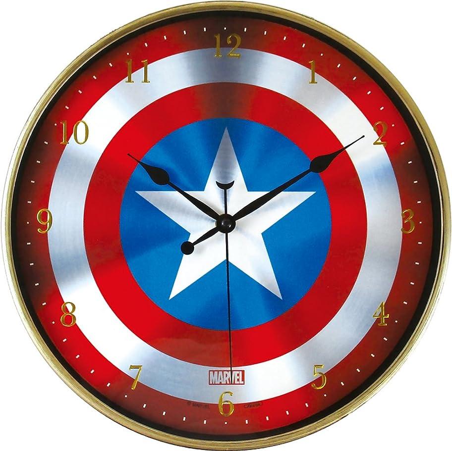 契約したスリラー欺ティーズ 掛け時計 マーベル インデックスウォールクロック キャプテンアメリカシールド MV-5520124CC