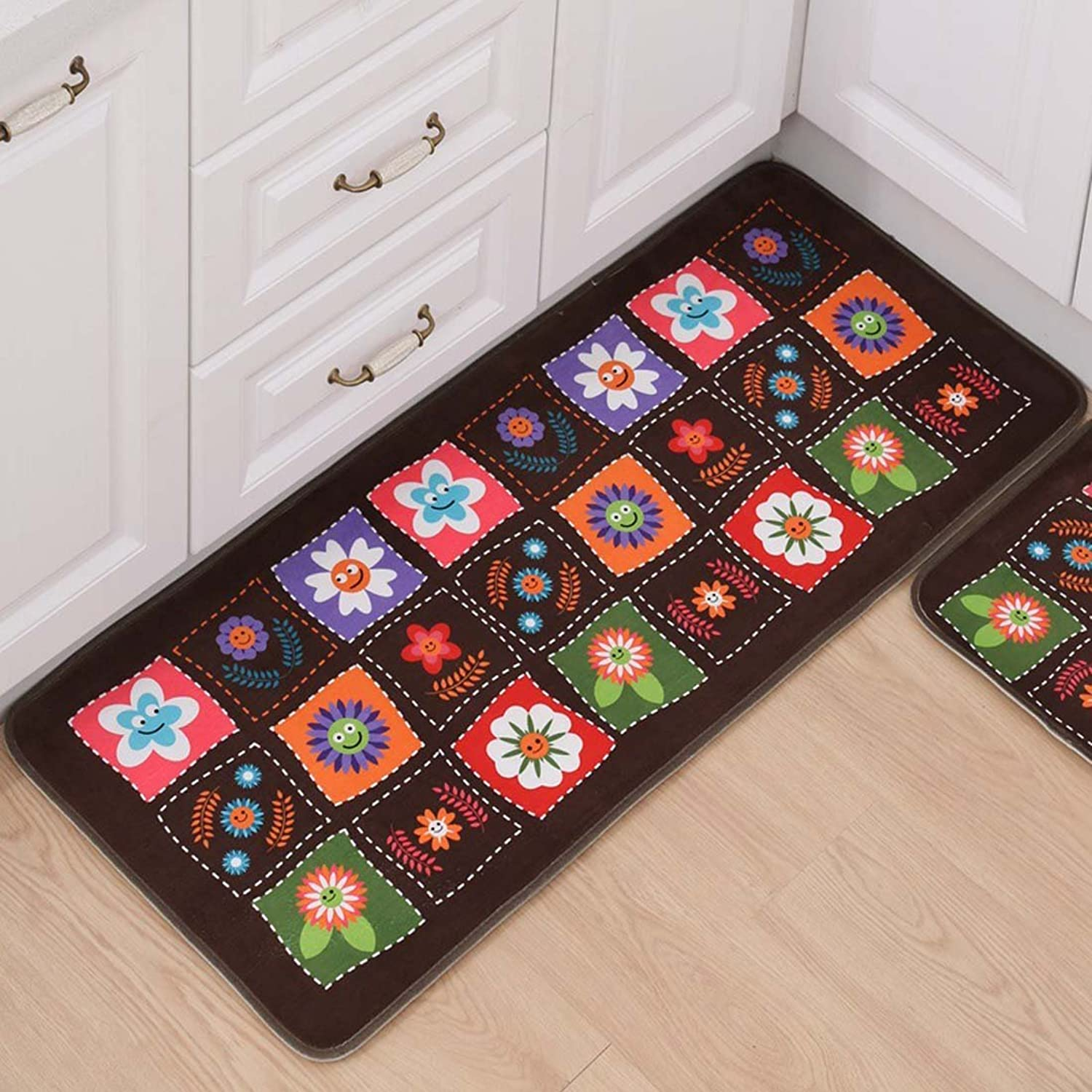 Indoor Outdoor 3PCS Doormat Entrance Welcome Mat Absorbent Runner Inserts Non Slip Entry Rug Funny Various Flowers with Coffee Background, Home Decor Inside Floor Carpet 15 x23  19 x31  19 x47