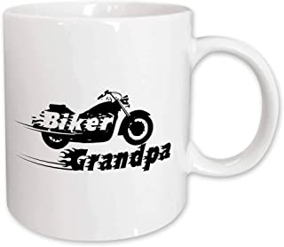 3dRose Biker Grandpa. Motorbike Motorcycle Granddad. Fast Bike. Cool Black and White Flaming Text. Grandad - Ceramic Mug, 15-Ounce (mug_162588_2)