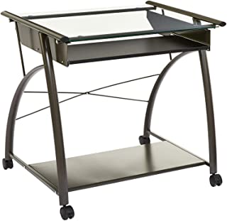 Phoenix Home Arezzo Rolling Computer Table with Glass Top and Keyboard Tray, Graphite Grey