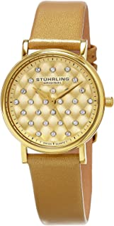 Stuhrling Original Women's 799.03 Symphony Quilted Dial Brown Leather Watch