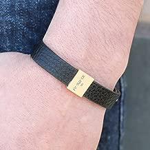 Personalized Leather Mens Bracelet Gift for Him Personalized Fathers Day Gifts Genuine Leather Coordinate Bracelet Groomsmen Gift Mens Jewelry Graduation Gift - MLBR