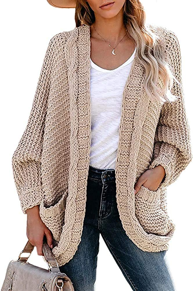 Cysincos Womens Overszied Cable Knit Cardigan Sweaters Batwing Sleeve Open Front Casual Knitwear Fall Draped Coat with Pocket Khaki