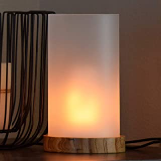 Wooden Cylinder LED Flame Effect Light with Remote Timer, 2 Mode of Flame Light and White Light, Table Lamp with USB Adapt...