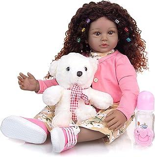 African American Reborn Baby Dolls 24 Inch Lifelike Dolls Realistic Newborn Girl Doll with Soft Cloth Body Eco-Friendly Ma...