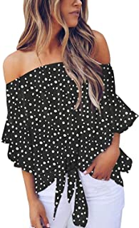 Womens Vintage Polka Dot Printed Off The Shoulder Tops...