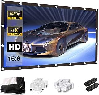 Keenstone Projectiescherm 150 Inch 16: 9 - 4K HD Anti-rimpel Opvouwbaar Draagbaar Wasbaar, Home Theatre-Projectorscherm, D...