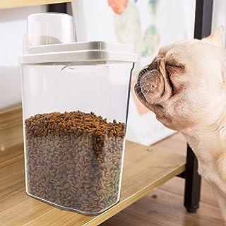 フードストッカー 密閉 ペットフード 保存容器 食品級PP材質 安全無毒 ペットフードストッカー 猫 犬用 食品保存容器 ペット餌入れ 透明 大容量 2.5L 防湿 計量カップ付 ドライフードストッカー(日本語取扱説明書付き) (ホワイト)