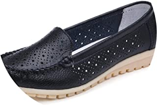 Flats Shoes Leather Shoes Cutout Loafers Slip on Ballet Flats Ballerines Flats