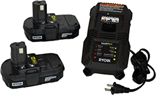 Ryobi P118 18V Dual Chemistry Lithium Ion / NiCad Battery Charger with 2 Genuine OEM P102 Compact Lithium Ion Batteries (Includes 1 x Charger and 2 x Batteries)