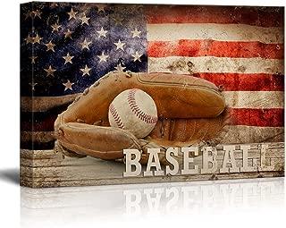 wall26 - Baseball Americana - Patriotic Ball and Glove Sport Grunge Flag - Canvas Art Home Decor - 16x24 inches