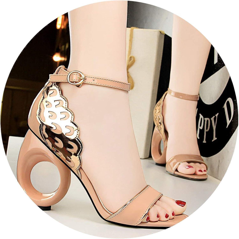 Summer 10Cm Strange High Heels Glitter Sandals Lady Sexy Strap Prom Wedding Pumps Female Footwear Block Heels shoes