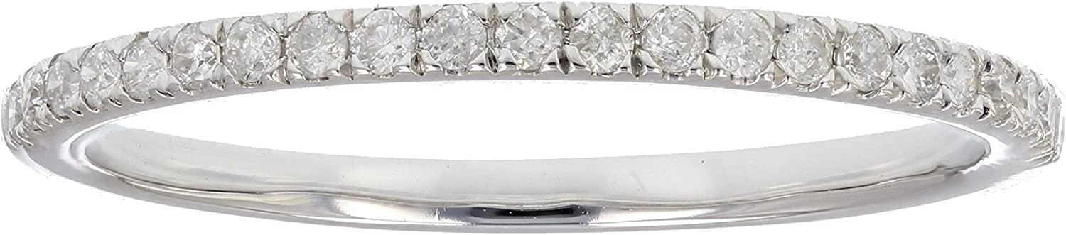 Vir Jewels 1/6 cttw Pave Diamond Wedding Band in 10K White Gold Prong Set Round