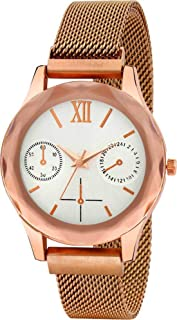 Acnos Automatic Size Resolver Magnetic Lock Rosegold Color Analog Watch for Men Pack of - 1 (A140)