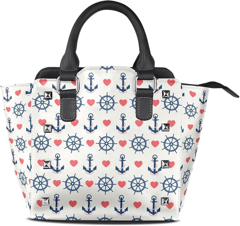 My Little Nest Women's Top Handle Satchel Handbag Heart Shape Anchor Pattern Ladies PU Leather Shoulder Bag Crossbody Bag
