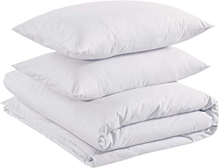 Amazon Basics Parure de lit 100% coton 260 x 220 cm / 50 x 80 cm, Blanc