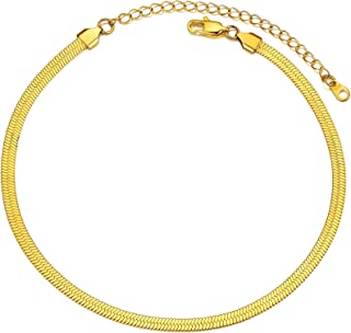 PROSTEEL Snake Chain Women Men Choker Necklaces, 18K Gold Plated Stainless Steel Herringbone Necklace for Women, W:0.16'',...