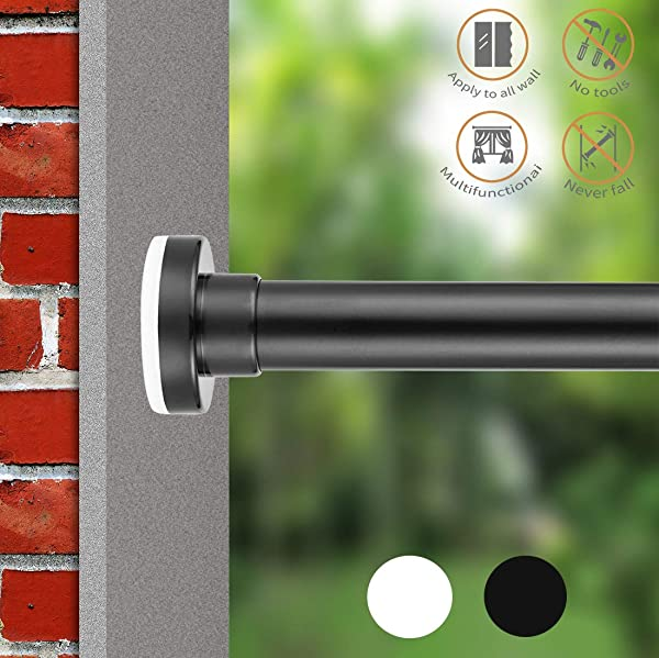 ALLZONE Room Divider Tension Curtain Rod 83 120 Inch No Drilling Never Bend Never Collapse Very Secure Rust Free Black