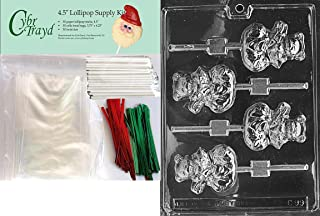 Cybrtrayd Mouse in Stocking Lolly Christmas Chocolate Candy Mold with 25 4.5-Inch Lollipop Sticks and Chocolatiers Guide