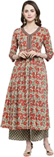 Varanga multicolour floral printed anarkali kurta with grey foil print straight palazzo.