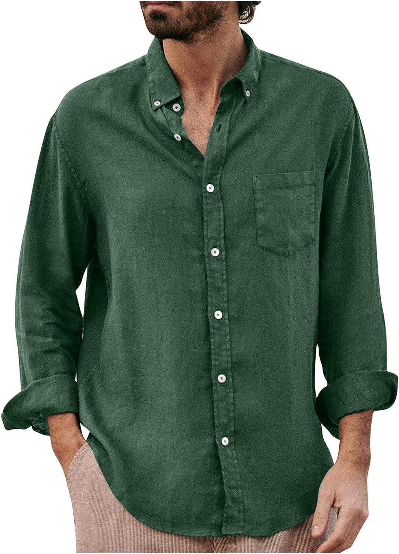 FUNEY Mens Linen Shirts Long Sleeve Hippie Casual Beach T Shirts Button Down Yoga Casual Cotton Autumn Lightweight Tops