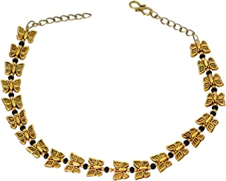 Sansar India Gold Plated Oxidised Metal Beaded Small Butterfly Anklets for Girls and Women (One Pc.), Black