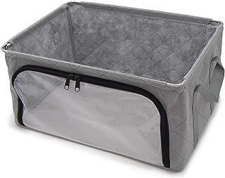 アストロ 収納ケース グレー 透明窓付き ワイヤー入り 不織布 活性炭 消臭 小物収納 620-80