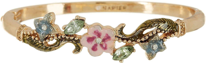 Napier Enamel Floral Bangle Bracelet Gold Tone Multi
