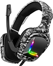 ONIKUMA Advanced 4D Gaming Headset, 7.1 Surround Sound with 50MM Driver, 360° Noise Cancelling Mic with Mute & Volume Control, Lightweight Ergonomic Cool RGB Headphones for PS4, Xbox One, Switch, PC