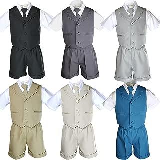 4pc Boy Infant Baby Formal Party Wedding Eton Vest Shorts Suit Set Size Sm-4T