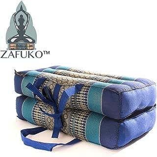 Zafuko Yoga, Meditation, Kundalini and Pilates Foldable Cushion (Zafu) for on-The-go Wide Long Block, Bolster, Floor Pillow, Prop - 100% Organic Kapok Fiber Filling