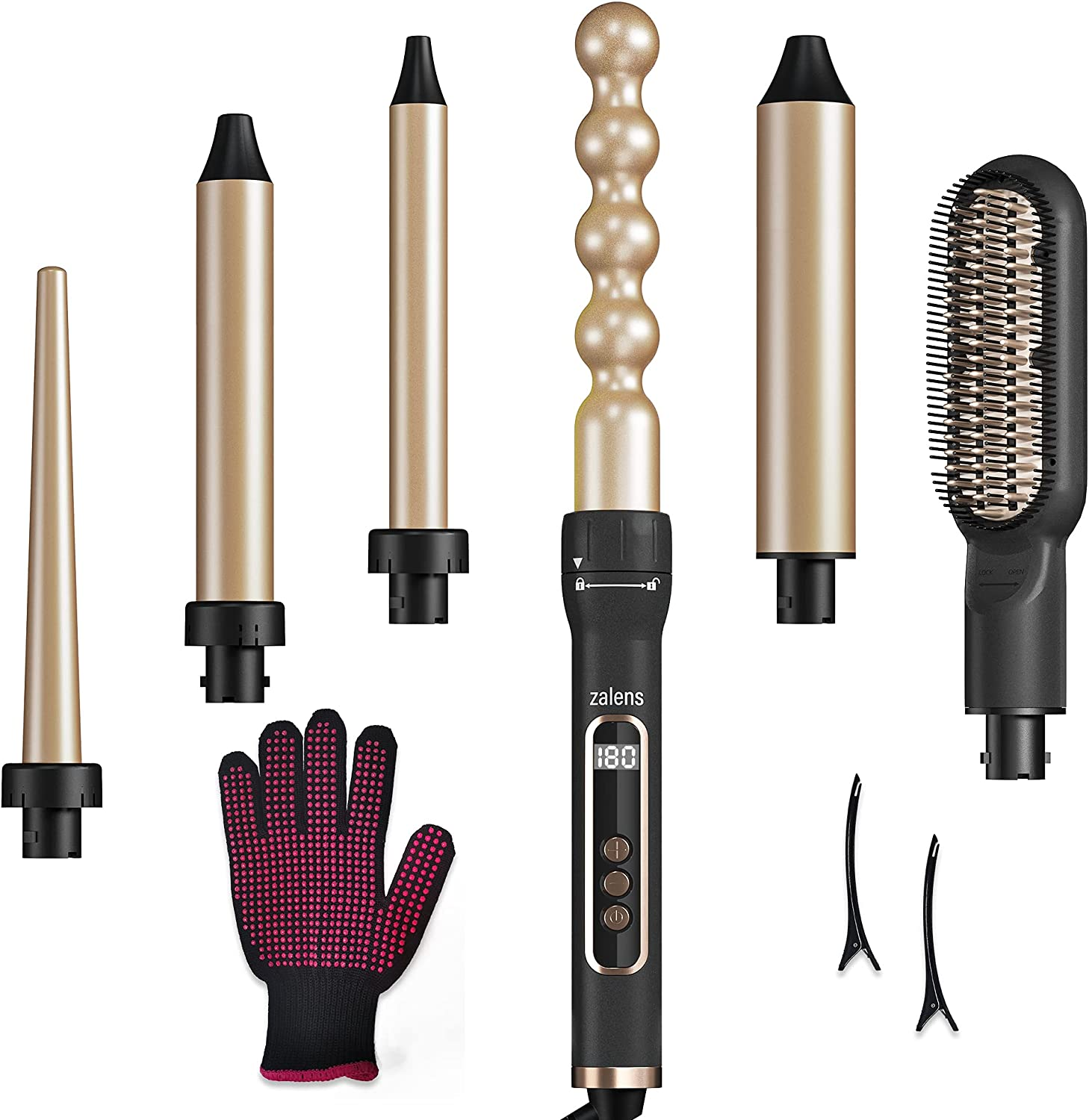 zalens 6 in 1 Curling Max 82% OFF Iron with Wand Strai Hair Today's only Set