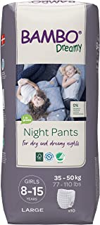 Bambo Nature Bambo Nature Eco Friendly Dreamy Night Pants for Girls 8-15 Years (77-110 Lbs), (6 Packs Of 10), 60 Count