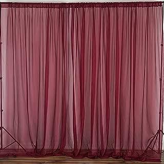 Efavormart 10FT Premium Fire Retardant Burgundy Sheer Voil Curtain Panel Backdrop for Window Wall Decoration - Premium Collection