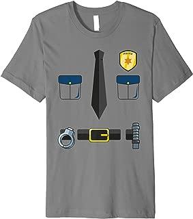 Halloween Police Badge, Tie, Handcuffs, & Belt Design Premium T-Shirt