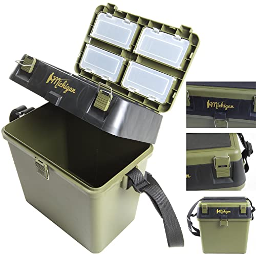 Michigan Fishing Tackle Seat Box Includes Padded Shoulder Strap & Seat Pad Very Strong