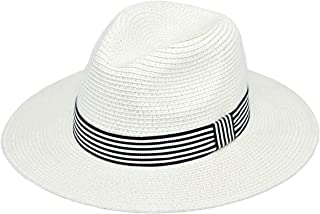 Morsun Wide Brim Fedora Sun Hats for Women, UPF 50, Roll Up Straw Panama Beach Wear