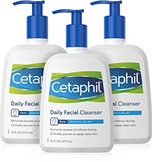 Cetaphil Daily Facial Cleanser, for normal to oily skin, 16 Ounce Bottles (Pack of 3)