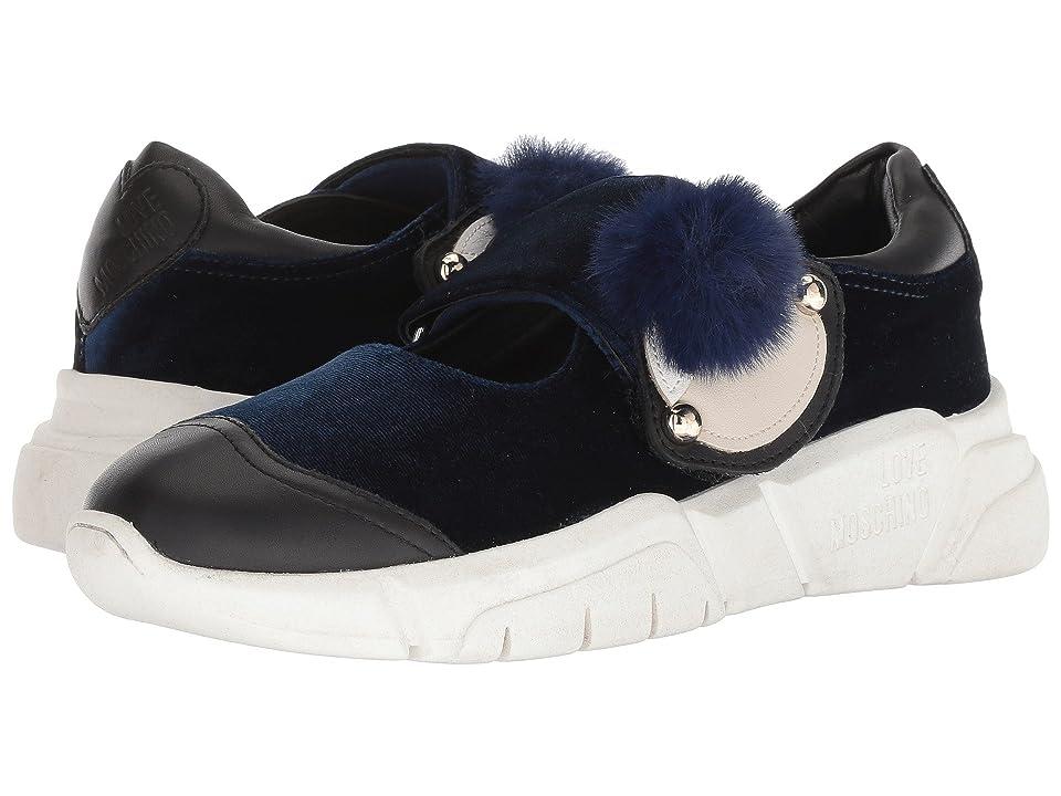 LOVE Moschino Velvet Doll Ballerina Sneaker (Blue) Women