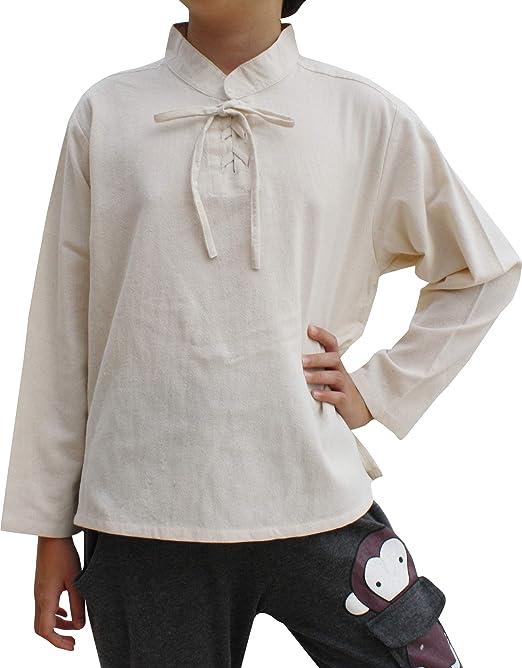 Svenine Childrens Chinese Collar Renaissance Tied Chest Long Sleeve Cotton Shirt