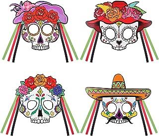 Day of the Dead Masks Skeleton Half Mask Sugar Skull DIY Mask Mexican Fiesta Halloween Fancy Dress Up Costume Accessory 4PCS