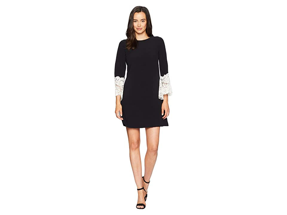 Tahari by ASL Sheath Dress with Lace Detail on Sleeve (Black/Ivory) Women
